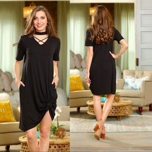 """Lettie"" Black Cross Front Short Sleeve Dress"